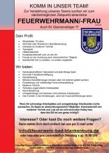 Stellenanzeige der Freiwilligen Feuerwehr Bad Blankenburg